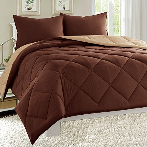 Dayton 3-Piece Reversible Comforter Set Down Alternative Solid Quilted Bed Cover (Twin, Brown & Taupe)