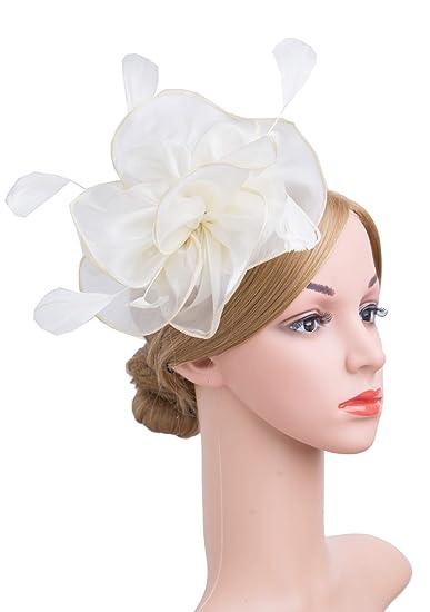 e319355cf4a Cizoe Fascinators Headband for Women Tea Party Hat Kentucky Derby Wedding  Flower Mesh Feathers Hair Clip