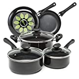 Ecolution EABK-1208 Artistry Nonstick Cookware Set Pots and Pans, Dishwasher Safe, Scratch Resistant, With Easy Food Release Interior, Cool Touch Handles, and Even Heating Base, 8 Piece, Black