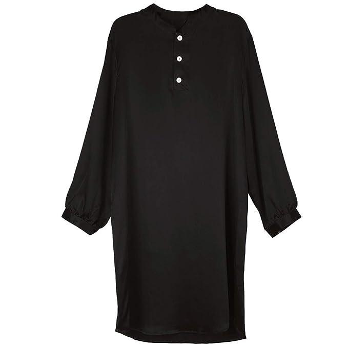 Sneerrt Bata de Raso de Seda de los Hombres de Manga Larga Suave Albornoz Homewear Sleepwear Lounge Pijamas sólido Suelto Hombres túnica: Amazon.es: Ropa y ...
