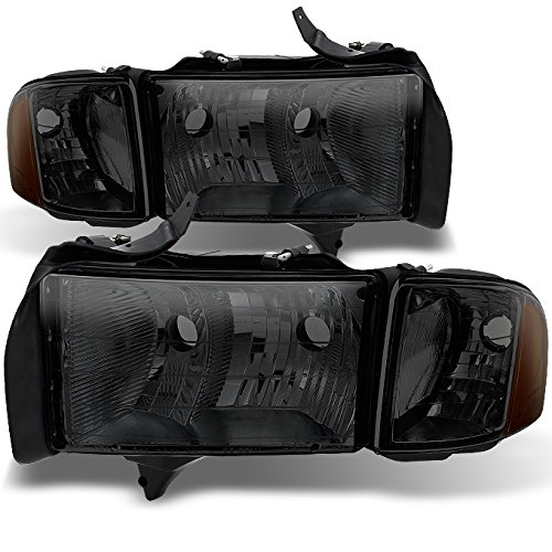 For Dodge Ram 1500 2500 3500 Pickup Truck Sport Package Smoke Headlights Head Lamps Replacement Pair Set