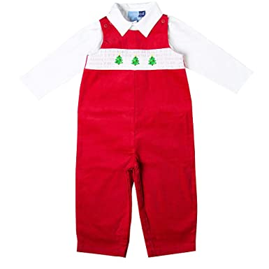 f0857af41 Good Lad Newborn/Infant Boys Red Overall Set with Christmas Tree Smocking  Motif (24M