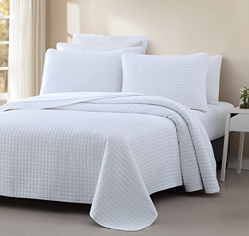 "Attitude 3pc Quilted Coverlet Set White King/Cal-King Size (108""x96"") Prewashed Cover Set, Square Stitched Design, Soft to The Touch Texture Microfabric Shell 100% Cotton Bed Cover by Cozy Beddings"