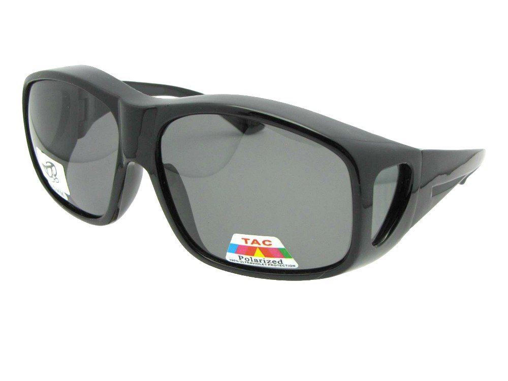 Style F19 Largest Polarized Fit Over Sunglasses With Sunglass Rage Pouch (Black-Medium Dark Gray Lens, 2 3/4)
