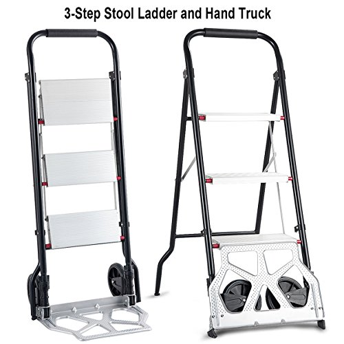 Goplus 3 Step Ladder Hand Truck 2-in-1 Aluminum Folding Stool Ladder 330Lbs Heavy Duty Portable Cart Dolly 176Lbs with Two Wheels