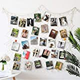 HAYATA Photo Hanging display with 40 Clip by Fishing Net Wall Decor - Picture Frames & Prints Multi Photos Organizer & Collage Artworks - Nautical Decorative Dorm Bedroom Christmas Decorations