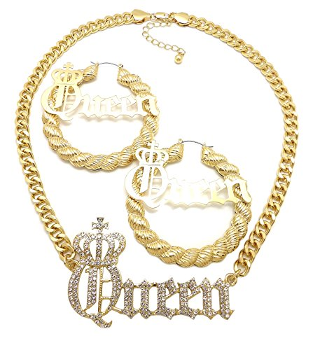 Fashion 21 Women's Statement Iced Out Queen Necklace,Bamboo Hoop Pierced Earring Set in Gold, Silver Tone (Gold/Queen Nk + Rope Earring Set)