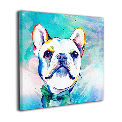 Arnold Glenn Funny Watercolor French Bulldogs Photo Paintings Canvas Wall Art Prints Contemporary Home Decoration Giclee Artwork-Wood Frame Gallery Wrapped