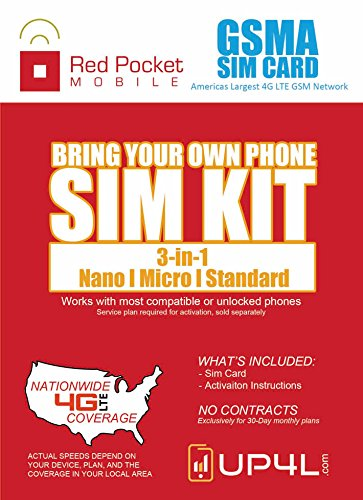 (Red Pocket Mobile GSM SIM Card Starter Kit 3 in 1 (Nano, Micro, Standard Simple No Contract Plans starting at $10/mo, Prepaid SIM will work w/AT&T Wireless or GSM Unlocked Phone incld iPhone android)