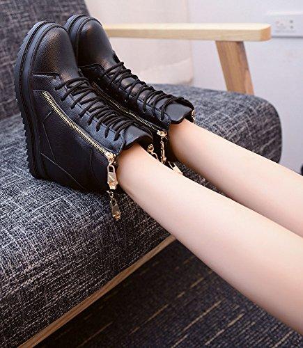 Chaussure Eclair Basket Compensées Plateforme Casual Montante Lacet Cuir wealsex Femme Fermeture SORqYvvx