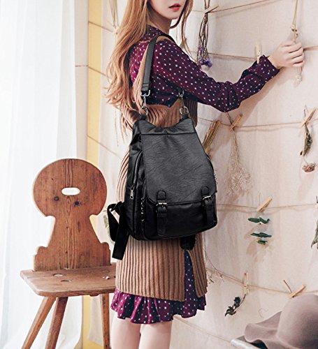 Black Handbag Theft Black Shoulder Women Design Bag Ways Cover Anti PU Multipurpose UTO Flap Leather Backpack 3 Rucksack TqHAxB8W