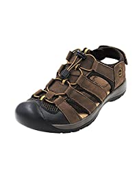 CHNHIRA Men's Leather Athletic and Outdoor Sandals