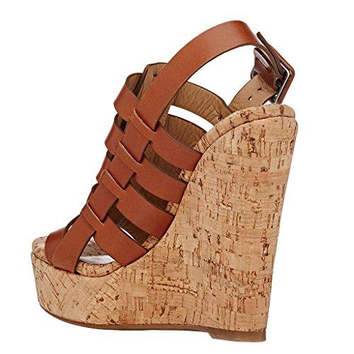 EKS - Zapatos de Tacón Mujer Marrón - marrón