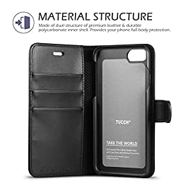 TUCCH Carry-All Magnetic Closure PU Leather Case with Card Slot and Stand Holder for Apple iPhone 7 - Black