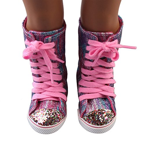 Doll Shoes, Yamally_9R Glitter Doll Sport Shoes Straps Boots For 18 Inch Our Generation American Girl Doll
