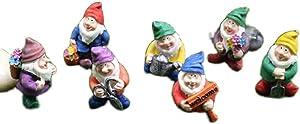 CHUZI Mini Resin Figurine Statue Ornaments Bonsai Fairy Garden Tiny Gnomes Elves Pixie Miniature Garden Decoration(7 Pcs)