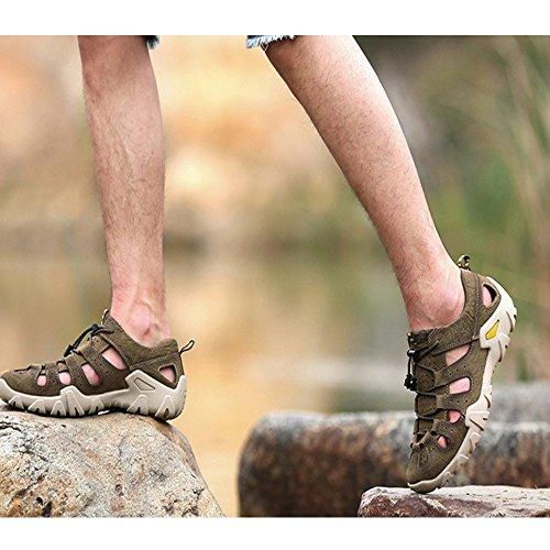 Khaki de Respirables Playa Pescador de Verano Sandalias para Ajustables de Cuero Zapatillas de de Cerrados Sandalias Antideslizantes Sudor abs Qingqing Hombres Cuero Sandalias Hombres para YFSfOf