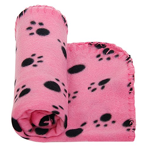 PAWZ Road Lovely Dog Blanket With Paw Prints Fleece Fabric Cat Blanket (Rose S)