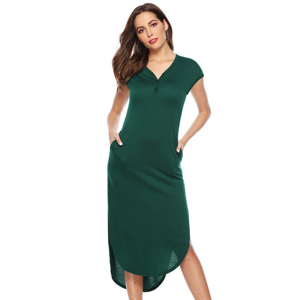 Ximandi Women Casual V-Neckline Solid Boho Dress Flounce Dress Short Sleeve Pocket Dress Green
