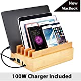 Avantree 100W 10 Ports Quick Charge 3.0 & Type C Wooden Bamboo USB Charging Station Organizer for Multiple Devices, New MacBook, Tablet, Smart Phones and More [2 Year Warranty]