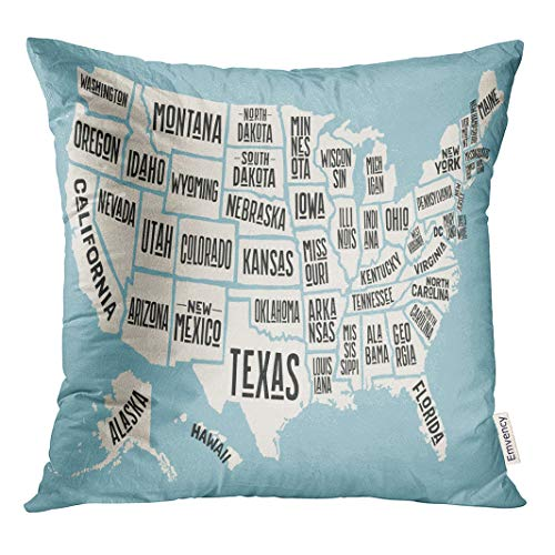 Semtomn 18x18 Inch Throw Pillow Covers Decorative Case Map of United States America Names USA Geographic Themes Cover Square Pillowcase Cushion Cases Both Sides Print