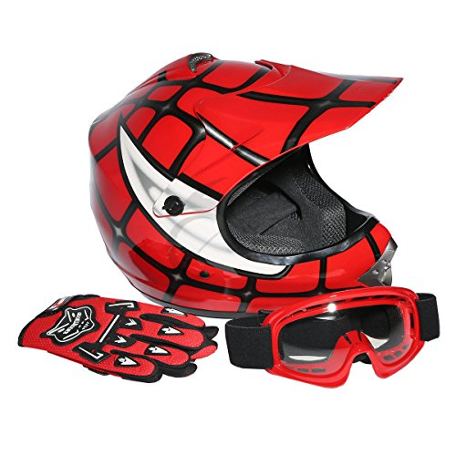 Red Mx Gear - XFMT Youth Kids Motocross Offroad Street Dirt Bike Helmet Goggles Gloves Atv Mx Helmet Red Spider S