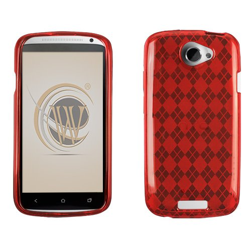 Red Argyle Checker Candy Skin Cover Case Cell Phone Protector for HTC One S (T-Mobile) (Water Talkies compare prices)