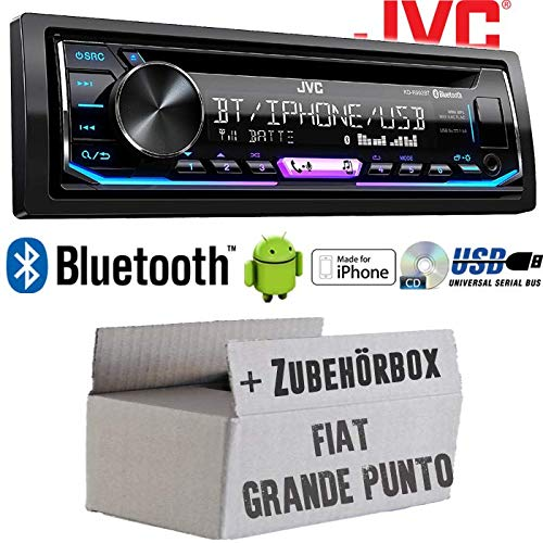 FIAT Grande Punto 199 Android USB Bluetooth Autoradio Radio JVC KD-R992BT Einbauset MP3 Einbauzubeh/ör Multicolor