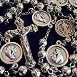 elegantmedical Handmade St. Anthony Medal + Silver Rose Beads Mens Womans Rosary & Crucifix Cross Catholic Necklace Gift Box