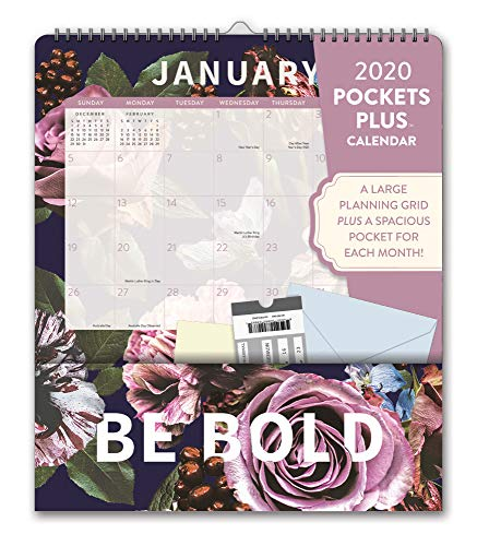 Calendar With Pockets (Orange Circle Studio 2020 Pockets Plus Wall Calendar, Floral)