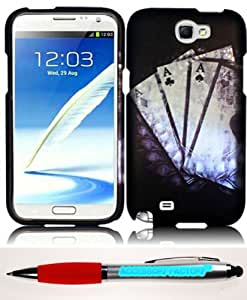 Accessory Factory(TM) Bundle (the item, 2in1 Stylus Point Pen) For Samsung Galaxy S Note 2 N7100 Rubberized Design Cover Case - Vintage Ace