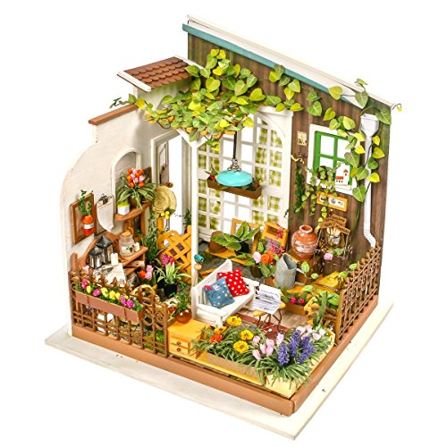 ROBOTIME DIY Miniature Dollhouse Kit Garden House with Furniture Sets Best Gifts for Adult and kid (Furniture Garden Diy)