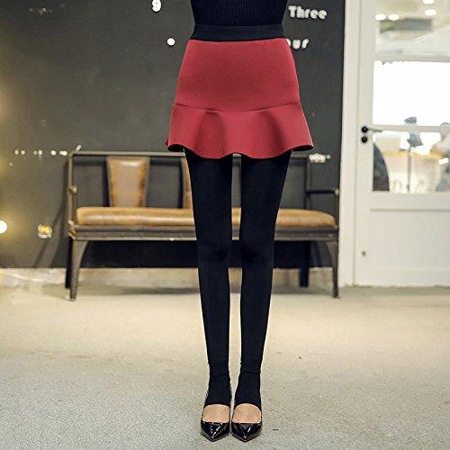 GBHNJ Leggings Femmes Transparent Coton Pantalon Culotte Taille Haute Plus Épais Thermique Peut Se Porter À LExtérieur Rouge Slim F(Poids Approprié 80-130 Catty)
