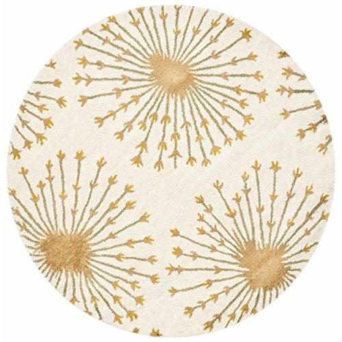 Safavieh Bella Collection BEL123A Handmade Beige and Gold Premium Wool Round Area Rug (5' Diameter)