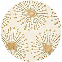 Safavieh Bella Collection BEL123A Handmade Beige and Gold Premium Wool Round Area Rug (5 Diameter)