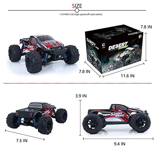 EXERCISE N PLAY RC Car, Remote Control Car, Terrain RC Cars, Electric Remote Control Off Road Monster Truck, 1:18 Scale 2.4Ghz Radio 4WD Fast 30+ MPH RC Car, with 2 Rechargeable Batteries by EXERCISE N PLAY (Image #5)