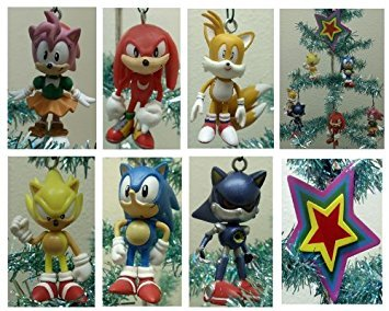 Sonic the Hedgehog Set of 7 Holiday Christmas Tree Ornaments Featuring Tails, Knuckles, Super Sonic, Sonic, Amy, and Metal Sonic