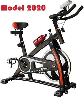 2020 - Bicicleta estática de spinning deportiva para estudio, entrenamiento en interiores, fitness, cardiovascular, ciclismo, hogar, gimnasio, monitor LED (botella de agua incluida): Amazon.es: Deportes y aire libre