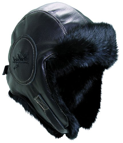 (Woolrich Pilot Hat Black Lambskin Leather/Rabbit Fur Lining (X-Large (61 cm)))