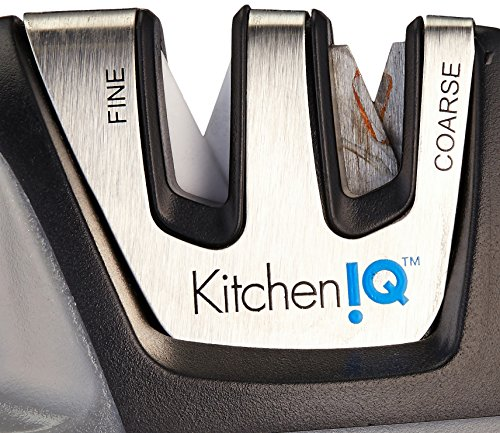 KitchenIQ 50009 Edge Grip 2 Stage Knife Sharpener, Black
