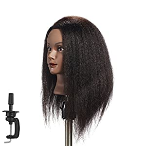 Hairginkgo Mannequin Head 24-26″ 100% Human Hair Manikin Head Hairdresser Training Head Cosmetology Doll Head for Styling Dye Cutting Braiding Practice with Clamp Stand (91812B0218)