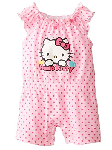 Hello Kitty Infant Girls Pink Polka Dot Romper Creeper Jumper Outfit - Dot Hello Polka Kitty