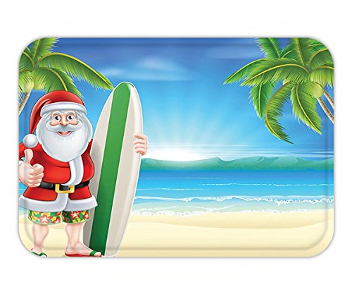 Minicoso Doormat Christmas Decorations Santa Claus with Trunks on Beach Surfboard Humor Sunny Hot Christmas Theme Decor Decor Blue Green (Christmas Doormats Frontgate)
