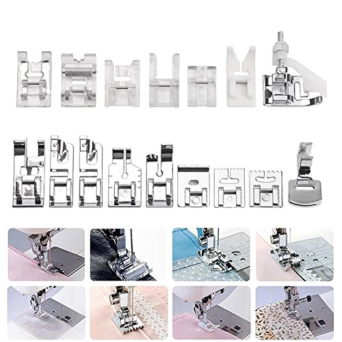 ABEDOE 16pcs Professional Sewing Machine Presser Walking Feet Set Low Shank Snap-on Foot Kit for Brother, Singer, Janome, Viking, Toyota, Simplicity, (Viking Presser Feet)
