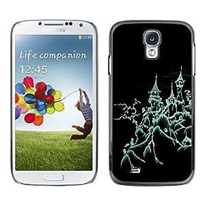 Samsung Galaxy S4 - Metal de aluminio y de plástico duro Caja del teléfono - Negro - Halloween Creepy House