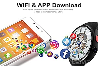 Amazon.com: LEMFO LEM6 Waterproof 3G SIM Smart Watch Phone GPS WiFi 1GB/16GB For Android Ios: Cell Phones & Accessories