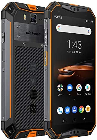 Ulefone Armor 3W(2019) Rugged Smartphone Unlocked, IP68 Waterproof Cell phone, Android 9.0 10300mAh Big Battery 6GB+64GB, Dual 4G Global Bands 5.7″ FHD+, Compass, GPS+Glonass, NFC, Shockproof (Orange)