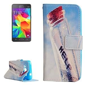 Help Bottle Pattern Horizontal Leather Case Funda Flip Cover con Holder & & Wallet bolsillos internos para Samsung Galaxy Grand Prime G360 /