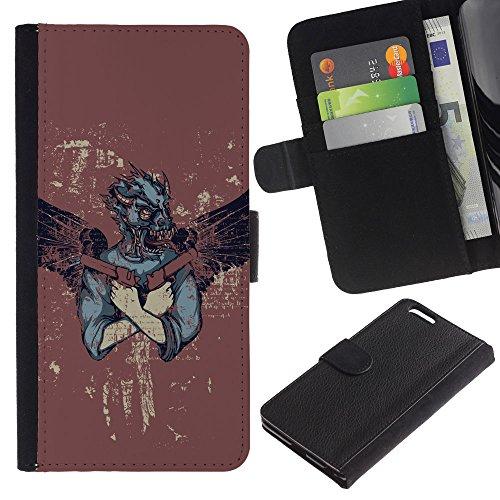 EuroCase - Apple Iphone 6 PLUS 5.5 - Rebel Badass Angel With Guns - Cuir PU Coverture Shell Armure Coque Coq Cas Etui Housse Case Cover