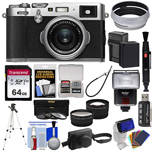 Fujifilm X100F Wi-Fi Digital Camera (Silver) with Leather Case + 64GB Card + Battery & Charger + Tripod + Flash + Telephoto & Wide Lens Kit Charger Leather Case Lcd